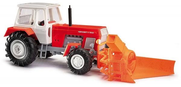 42846 - Busch - Fortschritt ZT 303 Allrad-Traktor, rot mit Schneefräse