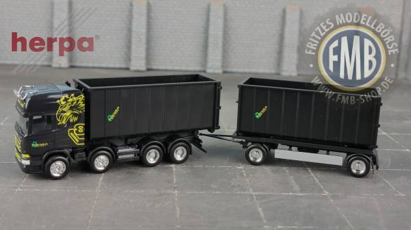 "936552 - Herpa - Scania R `13 Topline 8x4 Abrollmulden-Hängerzug ""Buchs-Lenk"" CH"