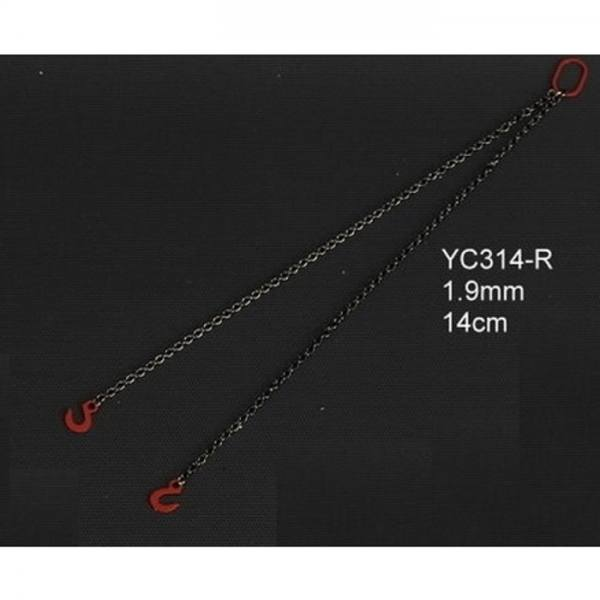 YC314-R -YCC Models - Anschlagketten 14 cm mit 2 Haken 1.8mm, rot