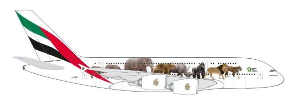 """531764 - Herpa - Emirates  Airbus A380  """"United for Wildlife"""" - 1:500"""