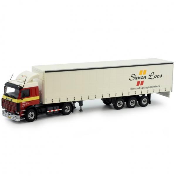 81830 - Tekno - Scania 3-serie 143-420 mit 3achs Schiebeplanen-Auflieger - Simon Loos - NL -