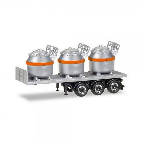 076838 - Herpa - Auflieger mit 3 Aluminium-Tigeln, silber