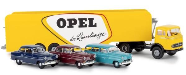"""48032 - Brekina - Mercedes-Benz LPS 338 Autotransport-Sattelzug mit 3 """"Opel Olympia"""""""
