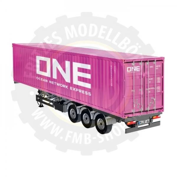 979/02 - NZG - 3achs Containerauflieger mit 40ft. Container - Magenta - ONE - EU
