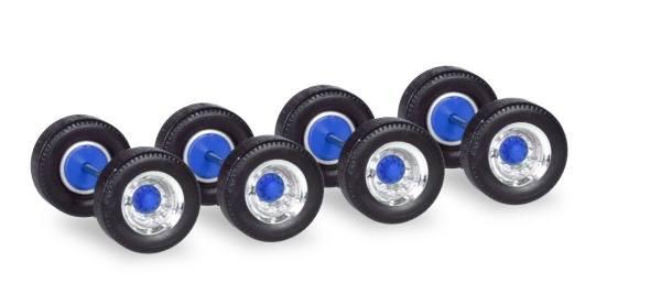 053891 - Herpa - Radsätze Breitreifen für Auflieger, chrom/blau