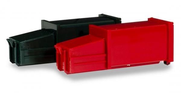 076876 - Herpa - Zubehör 2 Pressmüllcontainer, dunkelgrün und rot