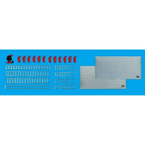31026 - Preiser - Überdrucklüfter, Feuerlöscher, Leitern und Riffelblechplatten