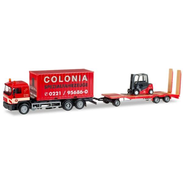 """308182 - Herpa - MAN F90 Container-LKW mit TU3 Tieflader und Gabelstapler """"Colonia"""""""