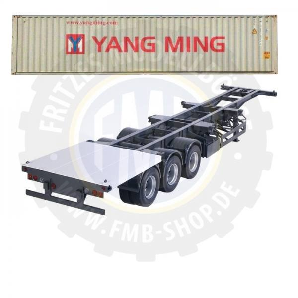 9791/04 - NZG - 3achs Containerauflieger mit 40ft. Container - YANG MING - US /CHN