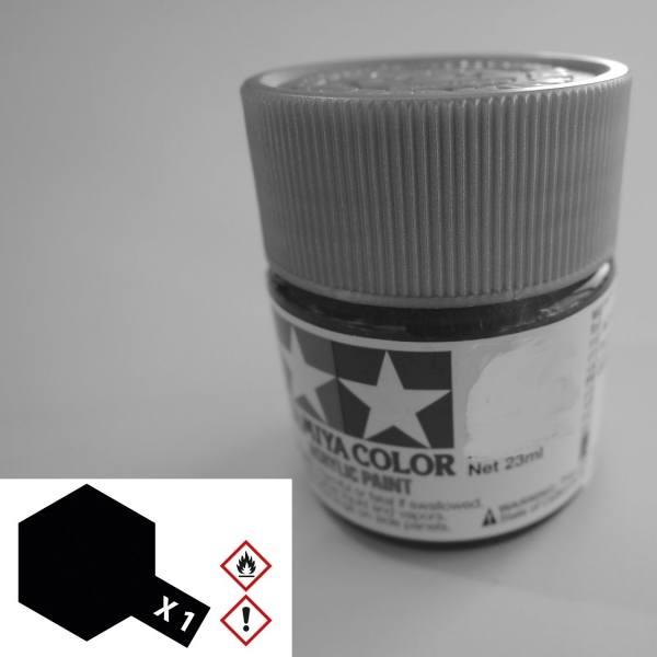 81001 - Tamiya - Acrylfarbe 23ml, schwarz glänzend X-1