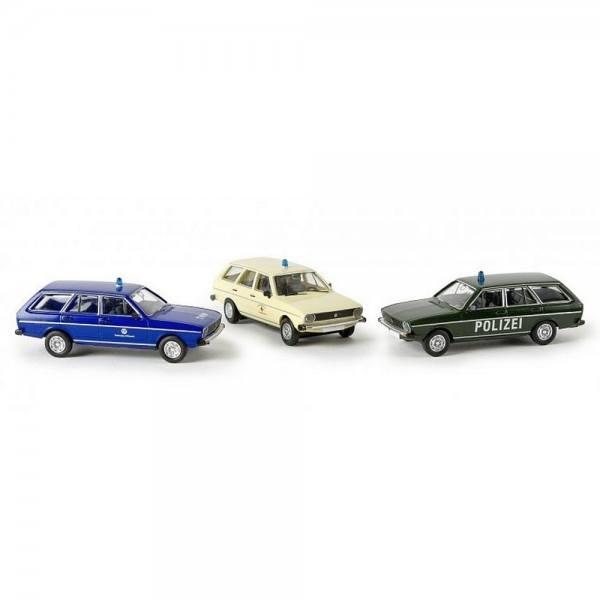 """90412 - Brekina - 3er Set VW Passat Variant """"Blaulicht"""" (Polizei, DRK, THW)"""