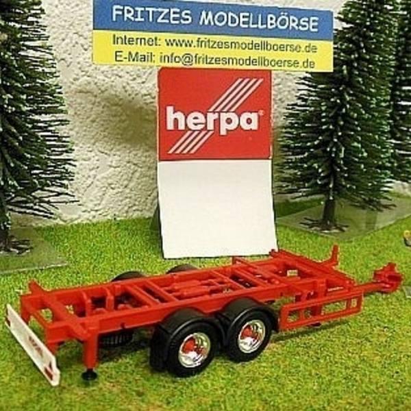 28960 - Herpa - Tandem-Wechselbrücken-Anhänger 7,45 m rot mit Chrom Felgen