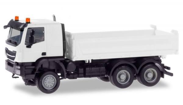 013673 - Herpa - MiniKit Iveco Trakker 6x6 Meiller 3-Seiten-Kipper, weiß