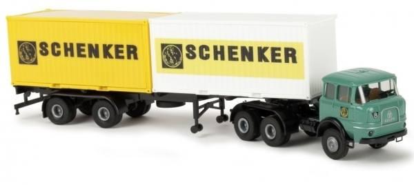 "84124 - Brekina - Krupp SF 380 2x 20ft. Container-Sattelzug ""Schenker"""