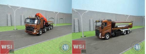 WSI-Set - Volvo FMX 8x4 + Kran 7400.2 + Volvo FH4 6x4 mit Asphalt Container - Palfinger -