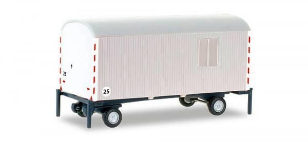 076395-002 - Herpa - Bauwagen 2achs Anhänger, weiß