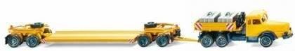 085140 - Wiking - Krupp Titan mit Pritsche und Scheuerle Tieflader, gelb/blau