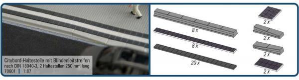 70601 - Rietze - Citybord-Haltestelle mit Blindenleitstreifen nach DIN 18040-3 - 250 mm lang
