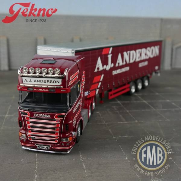 60962 - Tekno - Scania R-serie TL - mit 3achs Planenauflieger - A.J. Anderson - UK -