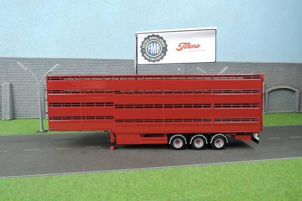70608 - Tekno - 3achs Houghton Viehtransporter-Auflieger - rot -