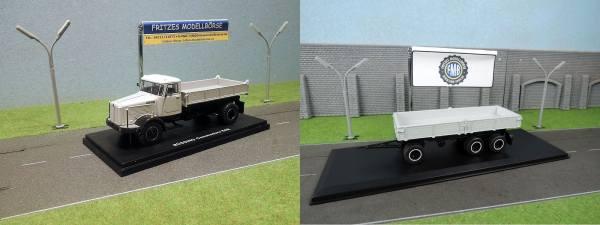 Modell Set - Golden Oldies - Büssing Commodore LS 11-16 SAK 2Achs Kipper mit 3Achs Anhänger - grau -