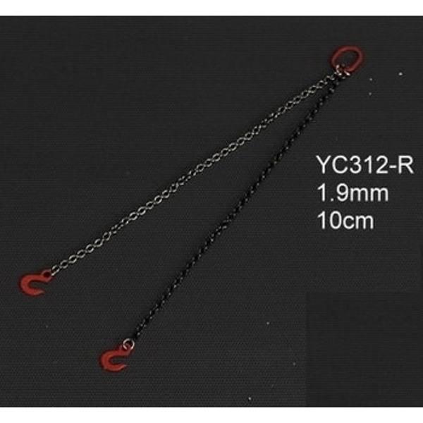YC312-R - YCC Models - Anschlagketten 10cm mit 2 Haken 1.8mm, rot