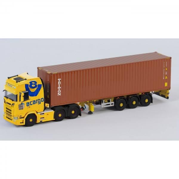 50277 - B-Ware - Herpa / WSI - Scania CS20 Highline Containersattelzug - Acargo / Truckerbabe Jana