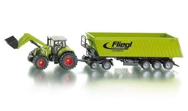 Siku traktor mit frontlader dolly und muldenkipper