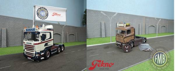 Tekno-Set - Scania Lowline 6x2 - Michael Smet - + Scania 4-serie HL 4x2 - N.A. Bloemen Line -