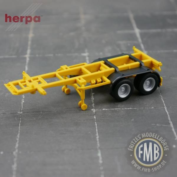 941235 - Herpa - 20ft. Container-Auflieger, 2achsig, gelb (RAL 1032)