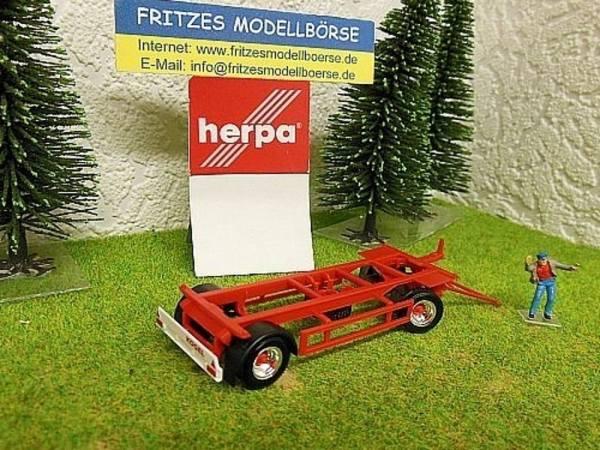 28961 - Herpa - 2achs Wechselbrücken-Anhänger 7,45 m rot mit Chrom Felgen