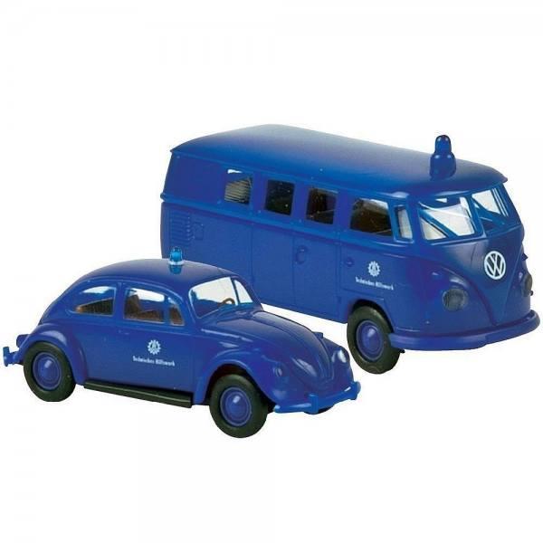 """99266 - Brekina - 2er Set """"THW - Technisches Hilfswerk"""" mit VW Käfer und VW T1 Bus"""