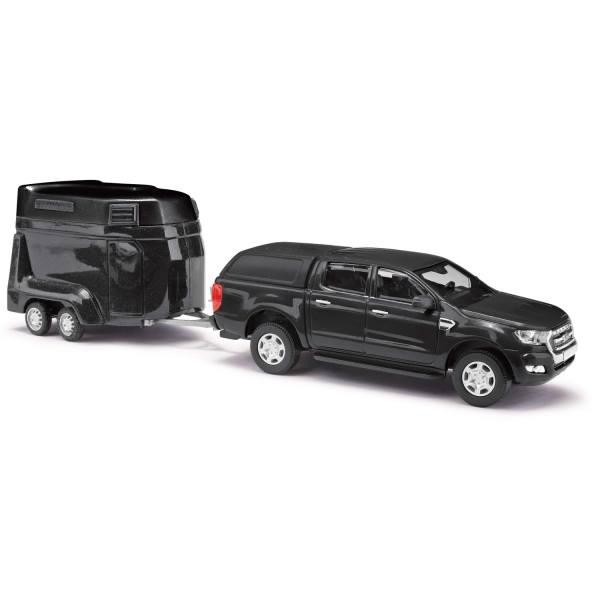 52814 - Busch - Ford Ranger Doppelkabine `16 mit Hardtop und Pferdeanhänger, schwarz