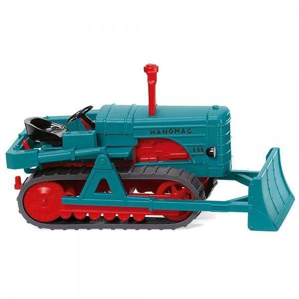 084437 - Wiking - Hanomag K55 Raupenschlepper mit Planierschild, wasserblau/rot
