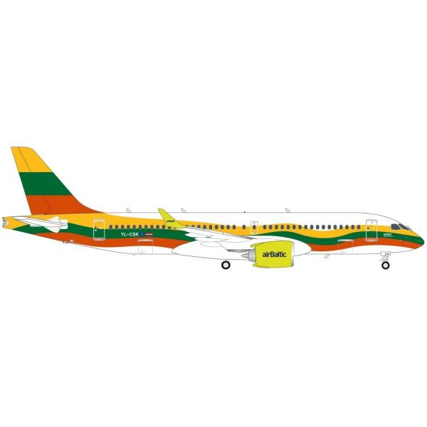 """570770 - Herpa - airBaltic Airbus A220-300 """"Lithuania"""""""