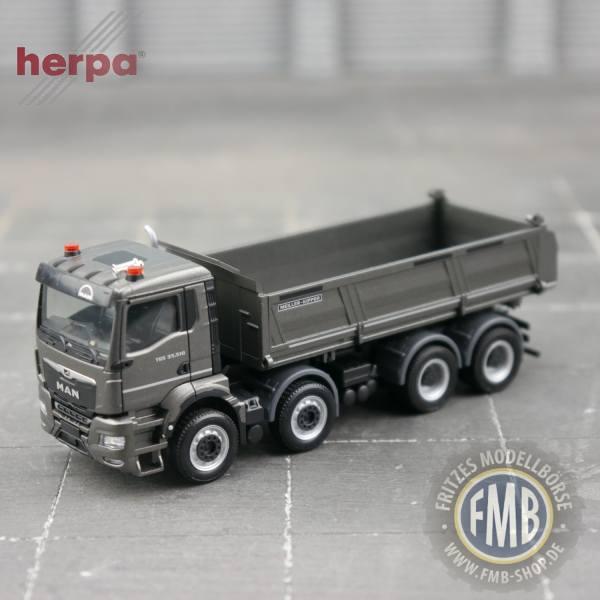 944144 - Herpa - MAN TGS NN 35.510 8x4 Meiller Dreiseitenkipper, anthrazit metallic