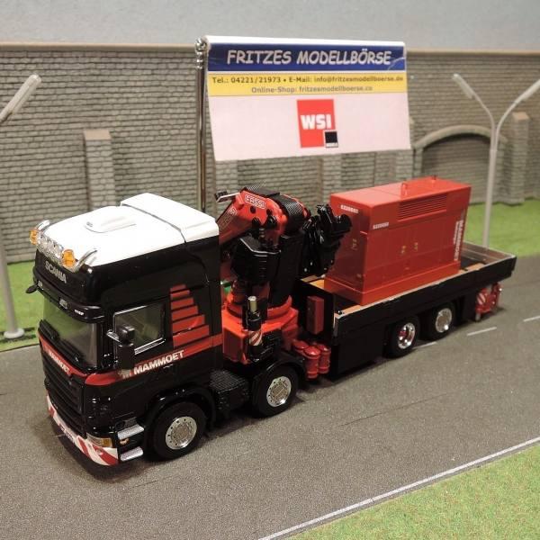 410201 - WSI - Scania R480 TL 8x2 mit Flachbett und Fassi Ladekran mit Generator -Mammoet-