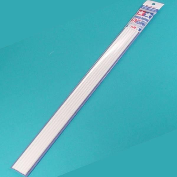 70134 - Tamiya - Rundprofil 5mm (6 Stück) 400mm aus Kunststoff, weiß