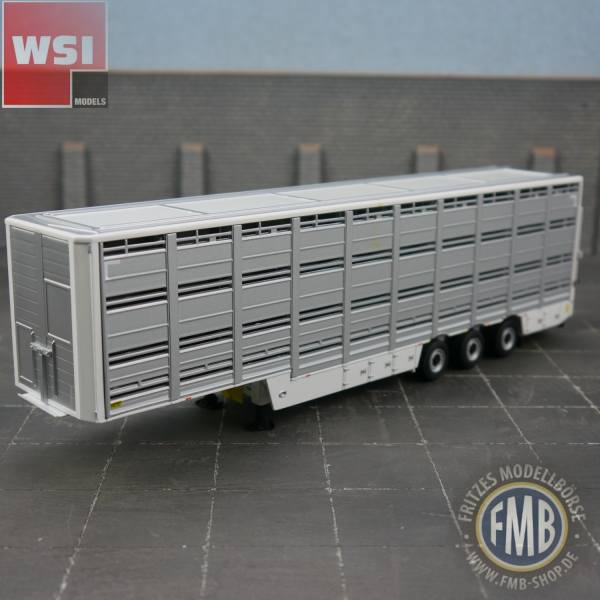 03-1123 - WSI - 3achs Viehtransportauflieger silber/ weiß