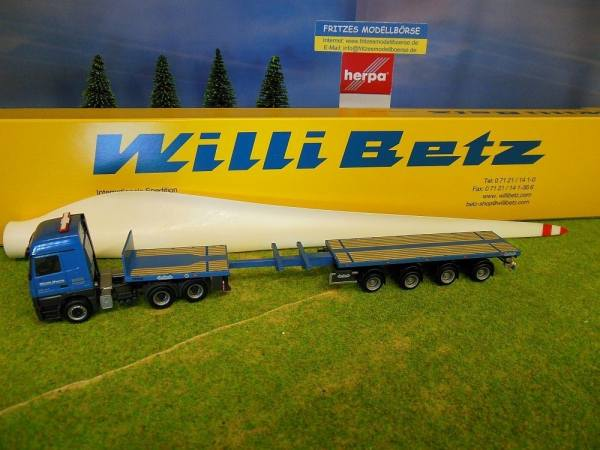 """10302 - Herpa - Mercedes-Benz Actros LH MP3 6x4 Teletrailer mit Windradflügel """"Willi Betz"""" BG"""