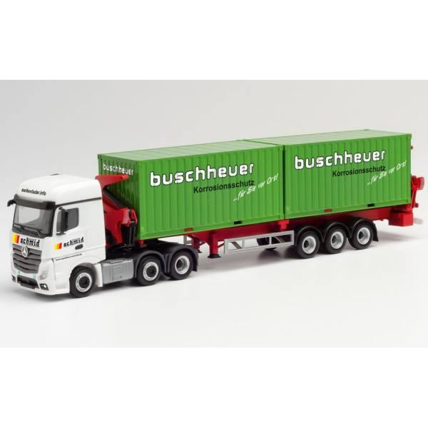 "312059 - Herpa - MB Actros`18 StreamSpace Hammar Container-Seitenlader ""Schmid / Buschheuer"""