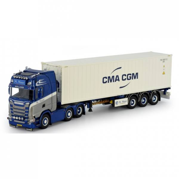 76539 - Tekno - Scania S HL mit 3achs Container Chass+40ft Kühlcontainer - CMA/CGM - M.Maas - NL -