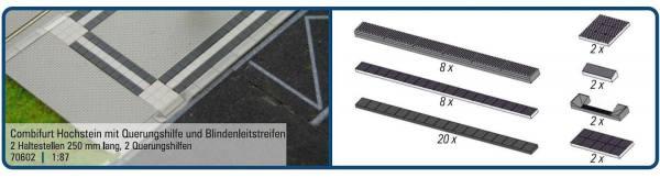 70602 - Rietze - Combifurt Hochstein mit Querungshilfe & Blindenleitstreifen - 250 mm lang