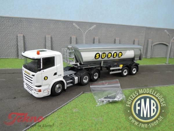 71947 - Tekno - Scania G-serie mit 2achs Kippauflieger Meiller - Surer - CH -