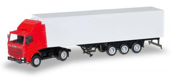 012850 - Herpa - Minikit  Scania 142 mit Kühlkoffer-Auflieger -rot/weiß-