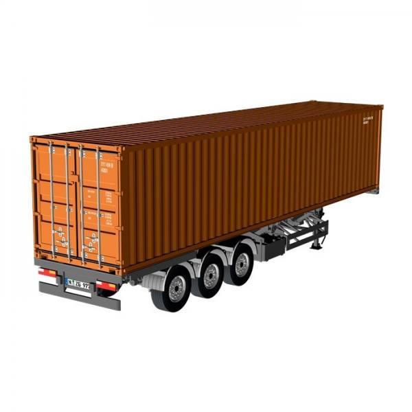 979/70 - NZG - 3achs Containerauflieger mit 40ft. Container, braun - EU