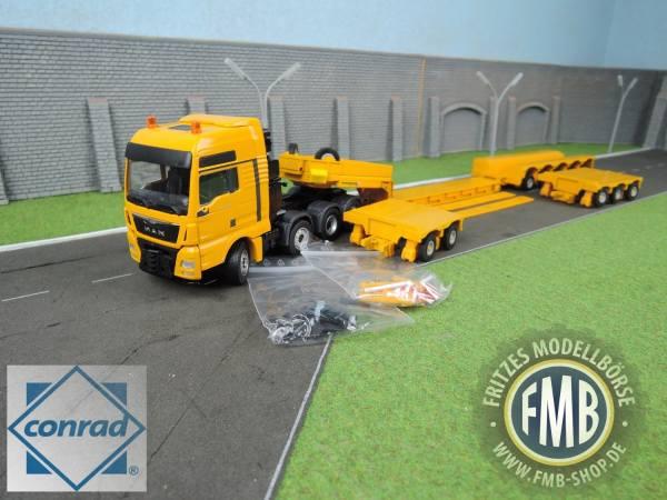76213/0 - Conrad - MAN TGX XXL 4achs mit Faymonville Variomax Tieflader, gelb
