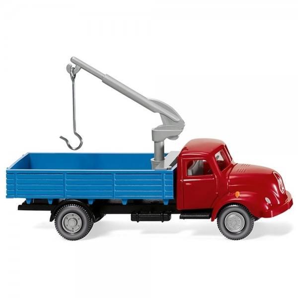 042002 - Wiking - Magirus S 3500 Pritschen-Lkw mit Ladekran - rot / blau