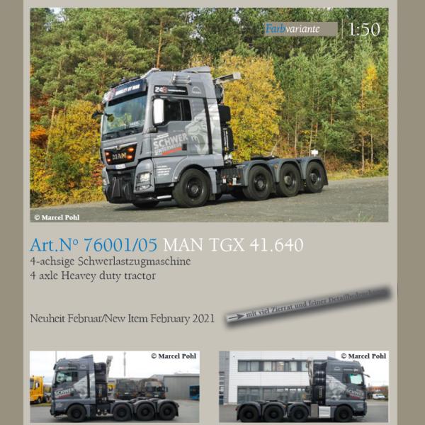76001/05 - Conrad - MAN TGX XXL 8x4 4achs Schwerlastzugmaschine - Schwer Unterwegs
