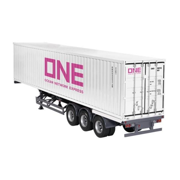 9791/03 - NZG - 3achs Containerauflieger mit 40ft. Container, ONE - weiß - US /CHN